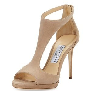 Jimmy Choo Lana Suede T-Strap 100mm Sandals Nude